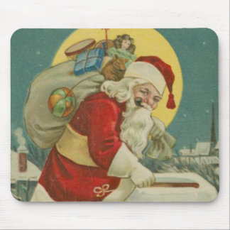Vintage Santa going down Chimney Mouse Pad