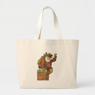 Vintage Santa Going Down the Chimney Canvas Bags