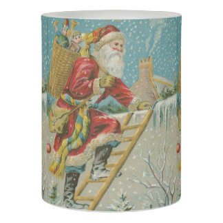 Vintage Santa Going up a Ladder Flameless Candle