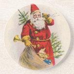 Vintage Santa Greeting Card Print Coaster