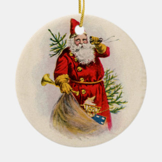 Vintage Santa Greeting Card Print Double-Sided Ceramic Round Christmas Ornament