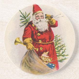 Vintage Santa Greeting Card Print Sandstone Coaster