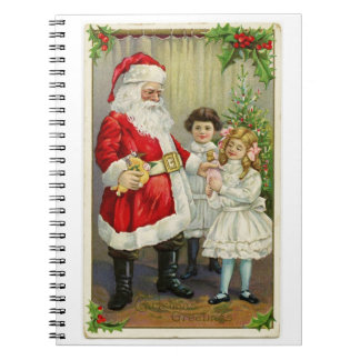 Vintage Santa Handing Out Gifts Spiral Notebook