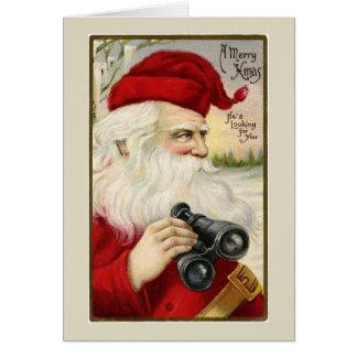 Vintage Santa Holding Binoculars Note Card