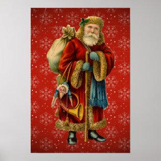 Vintage Santa Holding Staff Poster
