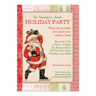 Vintage Santa Holiday Party Invitation