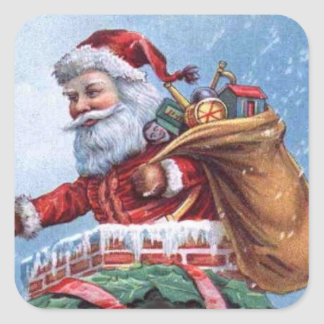Vintage Santa Holiday Sticker