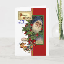 Vintage Santa, Holly Chistmas Card for Mother