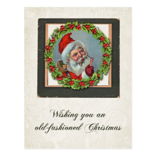 Vintage Santa Holly Wreath Postcard