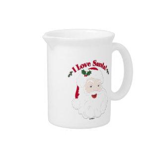 Vintage Santa I Love Santa! Drink Pitchers