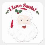 Vintage Santa I Love Santa! Square Sticker
