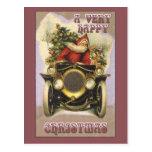 Vintage Santa in a Vintage Car Christmas Card Post Card