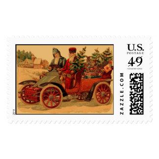 Vintage Santa in automobile Postage