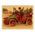 Vintage Santa in automobile Postcard