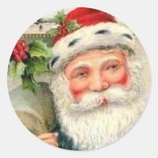 Vintage Santa in Blue Classic Round Sticker
