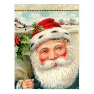 Vintage Santa in Blue Postcard