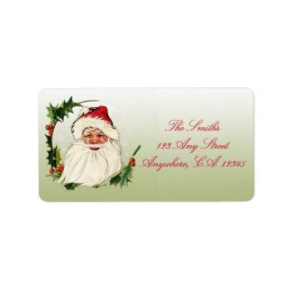 Vintage Santa in Frame Label