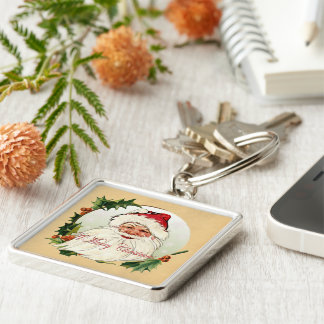 Vintage Santa in Frame Silver-Colored Square Keychain