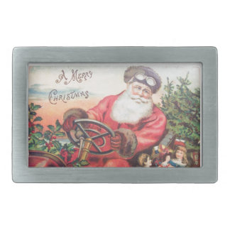 Vintage Santa in his car with the children waiting Rectangular Belt Buckle
