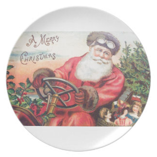 Vintage Santa in his car with the children waiting Dinner Plate