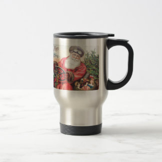 Vintage Santa in his car with the children waiting Travel Mug
