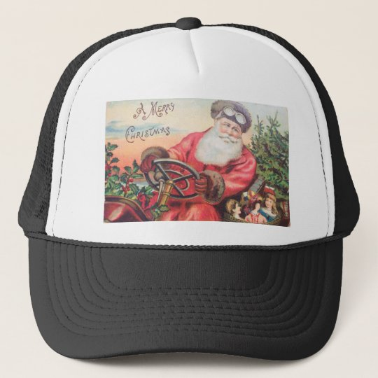 Vintage Santa in his car with the waiting Trucker Hat