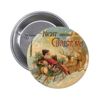 Vintage Santa in his reindeer sleigh 2 Inch Round Button