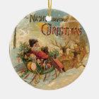 Vintage Santa in his reindeer sleigh Ceramic Ornament