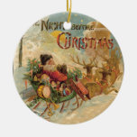 Vintage Santa in his reindeer sleigh Double-Sided Ceramic Round Christmas Ornament