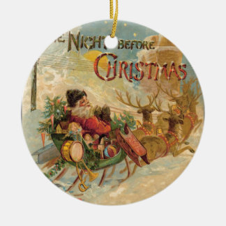 Vintage Santa in his reindeer sleigh Ornaments