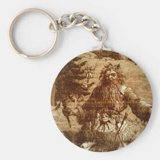 Vintage Santa in Sepia Basic Round Button Keychain