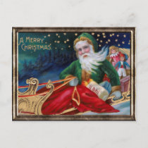 Vintage Santa in Sleigh on Winter Night Holiday Postcard
