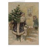 Vintage Santa in Snow Greeting Card