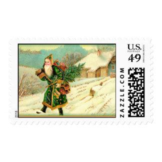 Vintage Santa in  Snow Postage