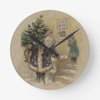Vintage Santa in Snow Round Clock