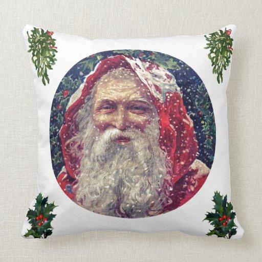 Vintage Санта в снегу подушки