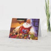 Vintage Santa In Workshop card