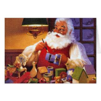 Vintage Santa In Workshop Greeting Cards
