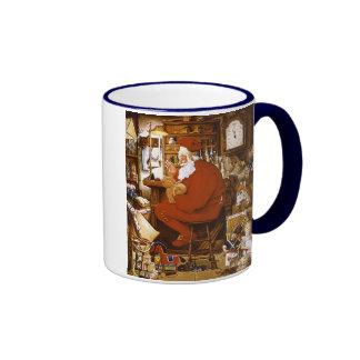Vintage Santa in Workshop Card Coffee Mugs