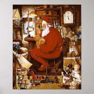 Vintage Santa in Workshop Card Posters