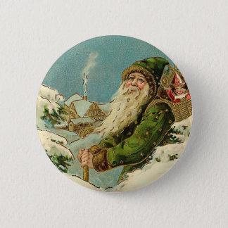 Vintage Santa - Joyeux Noel Button