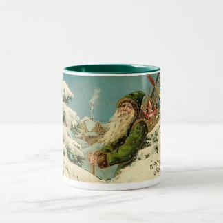 Vintage Santa - Joyeux Noel Coffee Mugs