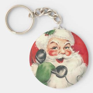 Vintage Santa Basic Round Button Keychain