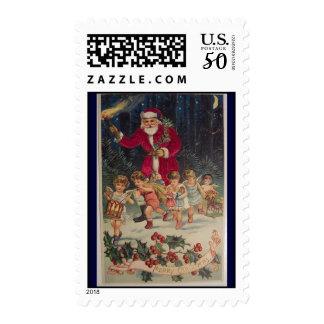 vintage santa kids chrsitmas kids parade postage