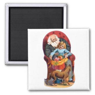 Vintage Santa & Little Girl Christmas 2 Inch Square Magnet