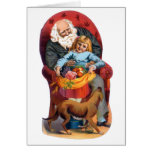 Vintage Santa & Little Girl Christmas Cards