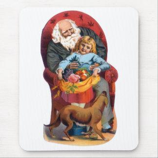 Vintage Santa & Little Girl Christmas Mouse Pad