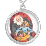 Vintage Santa & Little Girl Christmas Personalized Necklace