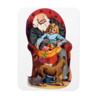 Vintage Santa & Little Girl Christmas Rectangular Photo Magnet