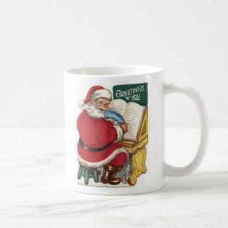 Vintage Santa Making a List Cup Mug